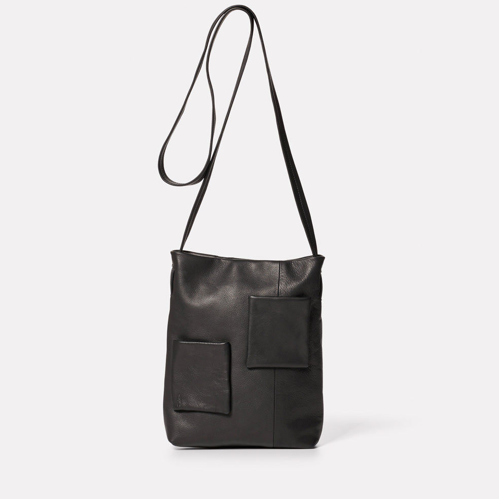 Mimi Camlet Leather Crossbody Bag in Black