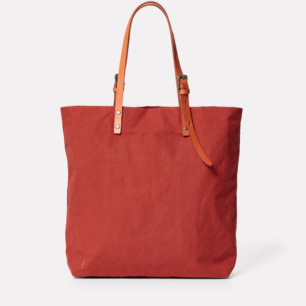 Natalie Waxed Cotton Tote in Brick-TOTE-Ally Capellino-Ally Capellino
