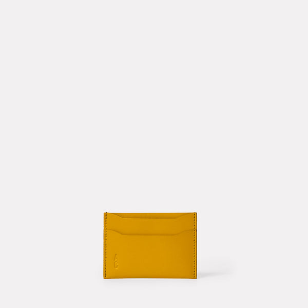 Pete Calvert Leather Card Holder in Mustard Front