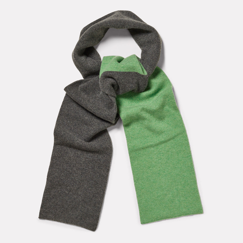Lambswool Long Scarf in Grey & Green