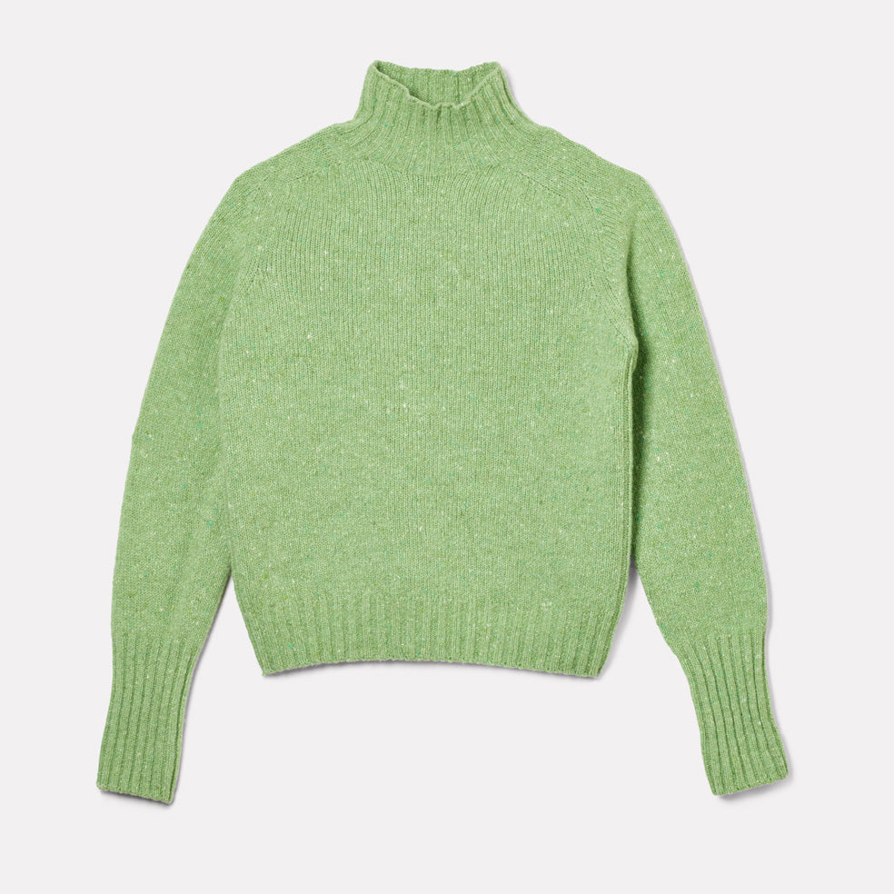 Womens Cashmere and Merino Knit Turtleneck in Green