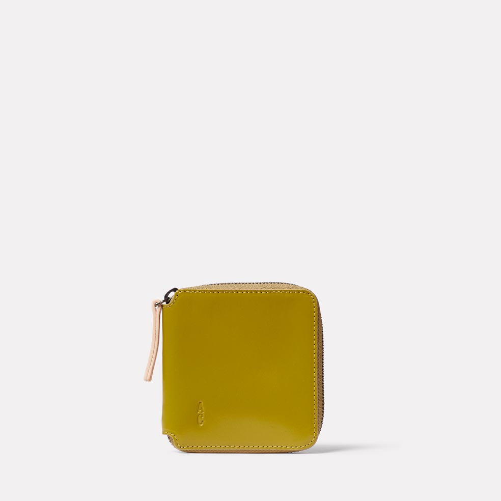 Axel Leather Zip Round Wallet in Mustard