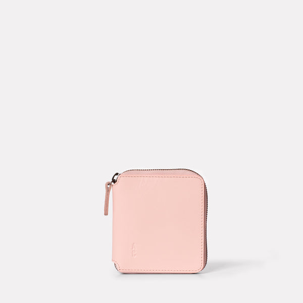 Axel Leather Zip Round Wallet in Pink Front