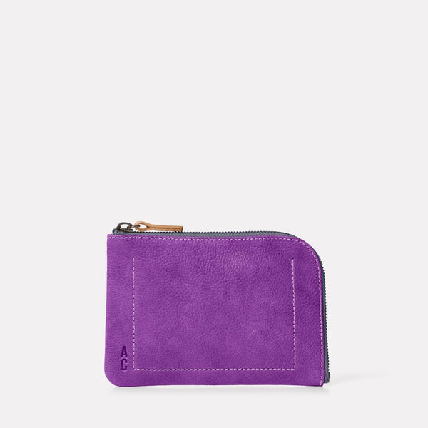 Hocker Medium Leather Purse in Viola Front
