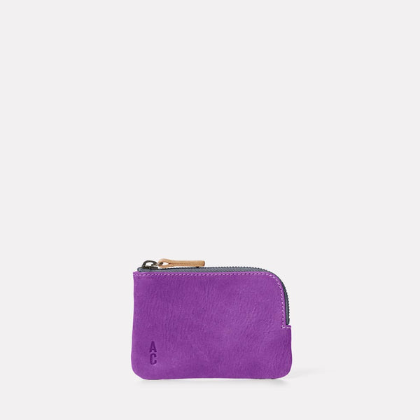 Hocker Small Leather Purse in Viola Front