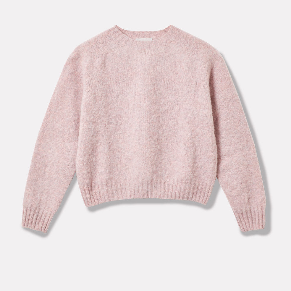 Cropped Lambswool Jumper in Light Pink