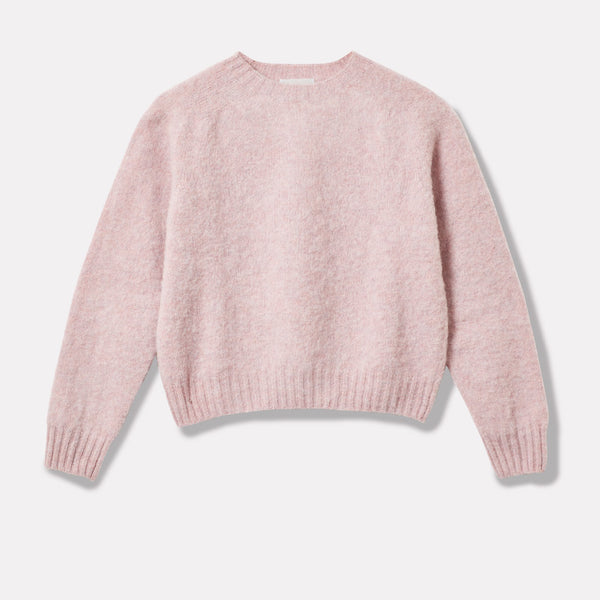 Cropped Lambswool Jumper in Light Pink Front