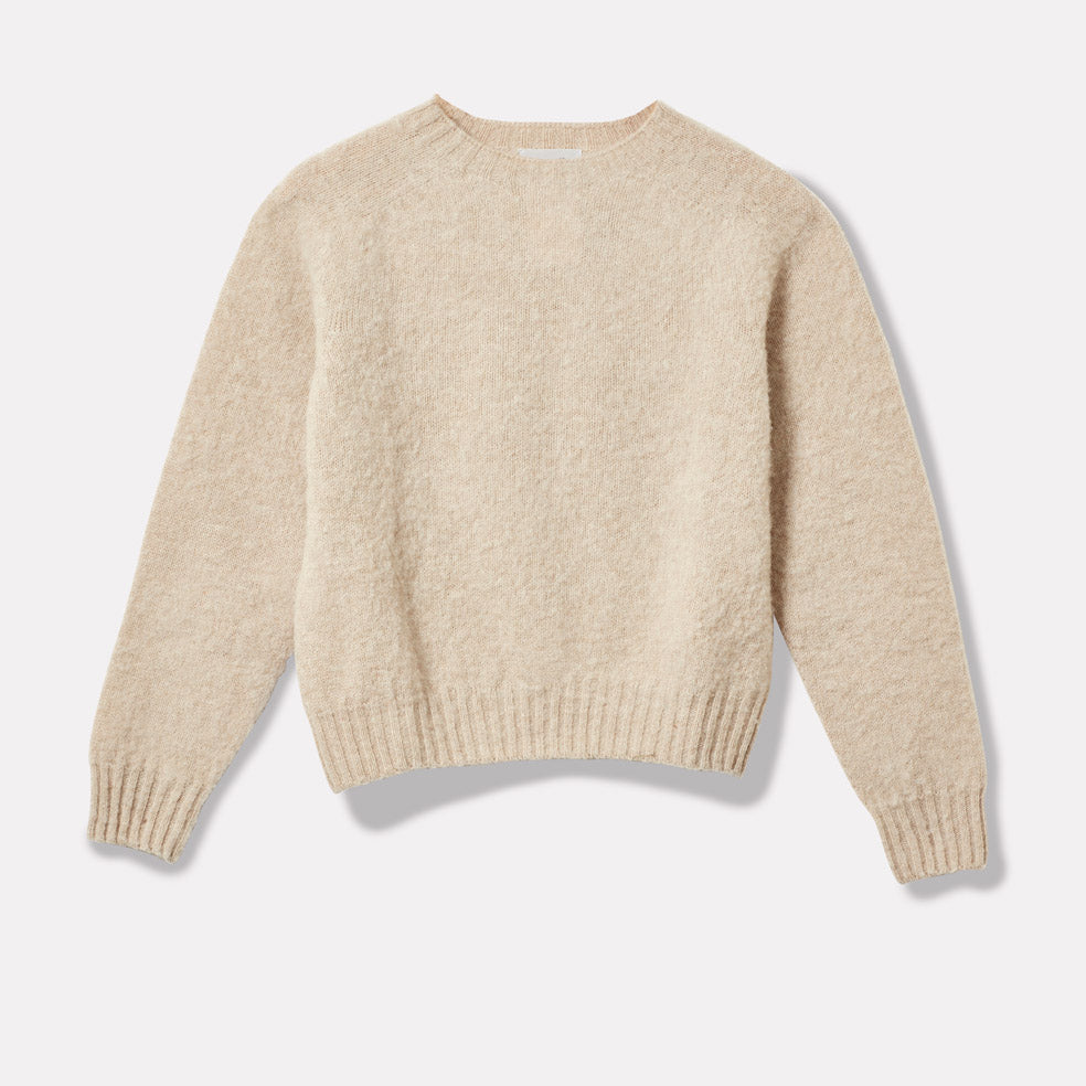 Cropped Lambswool Jumper in Oatmilk