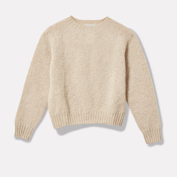 Cropped Lambswool Jumper in Oatmilk Front