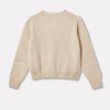 Cropped Lambswool Jumper in Oatmilk Back
