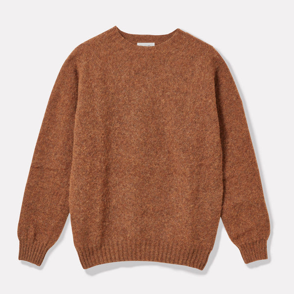Oversized Lambswool Jumper in Pecan Front
