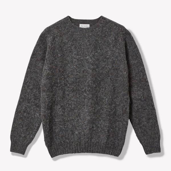 Oversized Lambswool Jumper in Dark Grey Front