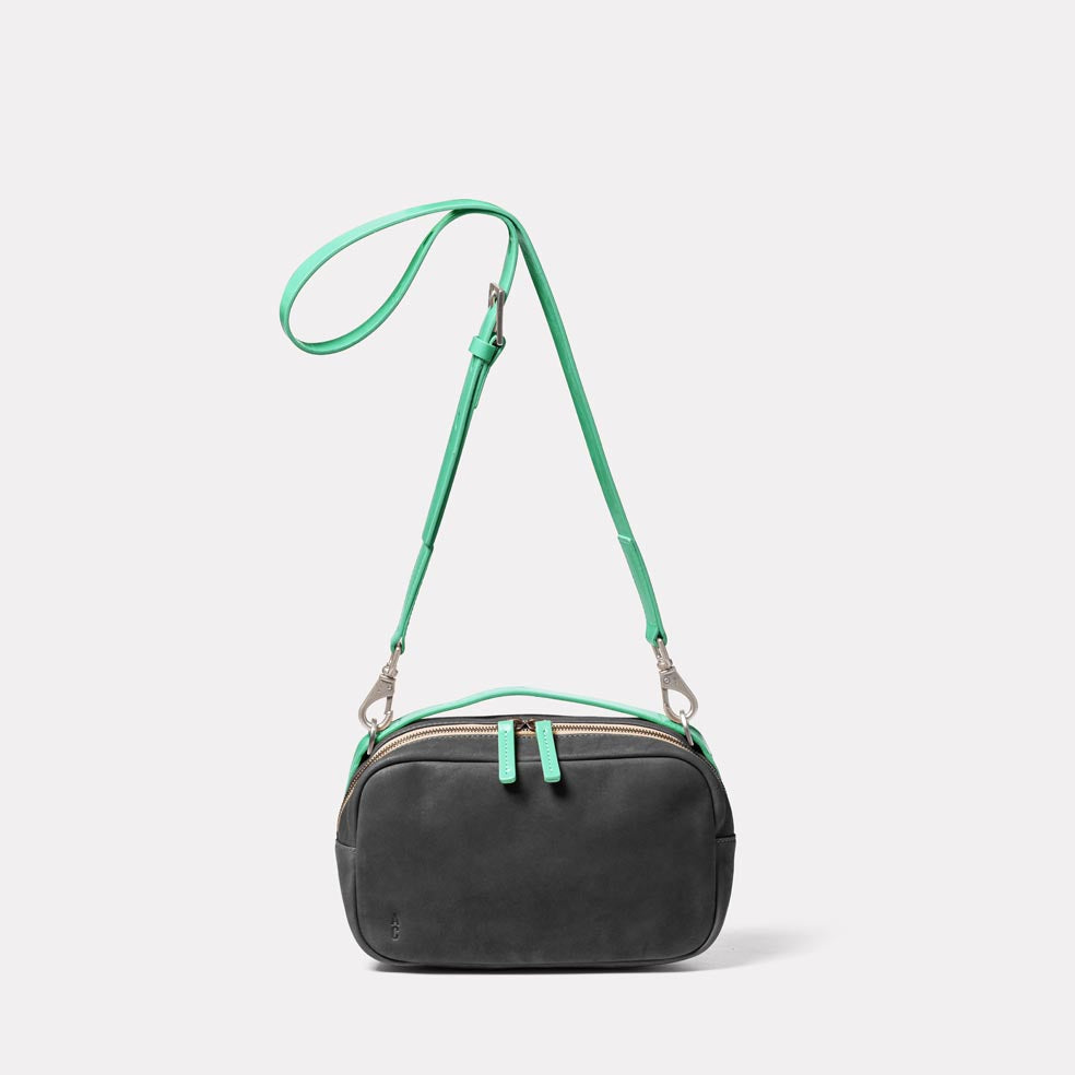 Leila Medium Calvert Leather Crossbody Bag in Dark Green