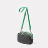 Leila Medium Calvert Leather Crossbody Bag in Dark Green Angle