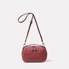 Leila Medium Calvert Leather Crossbody Bag in Oxblood Front