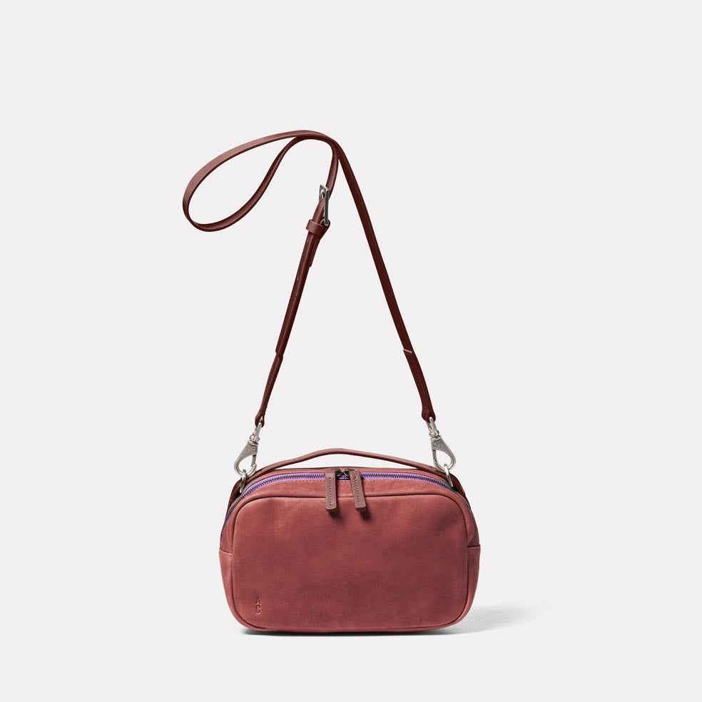 Leila Medium Calvert Leather Crossbody Bag in Oxblood