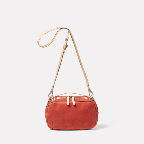 Leila Medium Calvert Leather Crossbody Bag in Rust Front