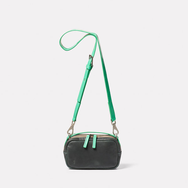Leila Small Calvert Leather Crossbody Bag in Dark Green Front