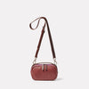Leila Small Calvert Leather Crossbody Bag in Oxblood Front