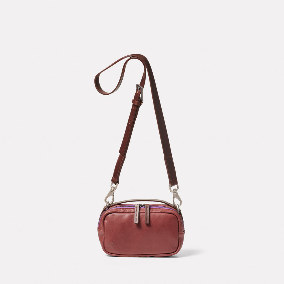 Leila Small Calvert Leather Crossbody Bag in Oxblood