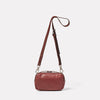 Leila Small Calvert Leather Crossbody Bag in Oxblood Back