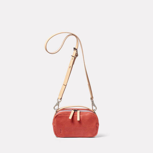 Leila Small Calvert Leather Crossbody Bag in Rust Front