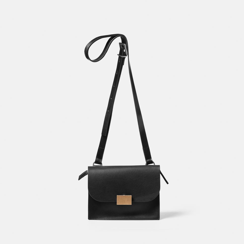 Lockie Boundary Leather Crossbody Lock Bag in Black