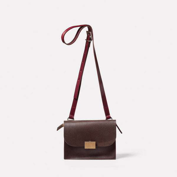 Lockie Boundary Leather Crossbody Lock Bag in Brown Front