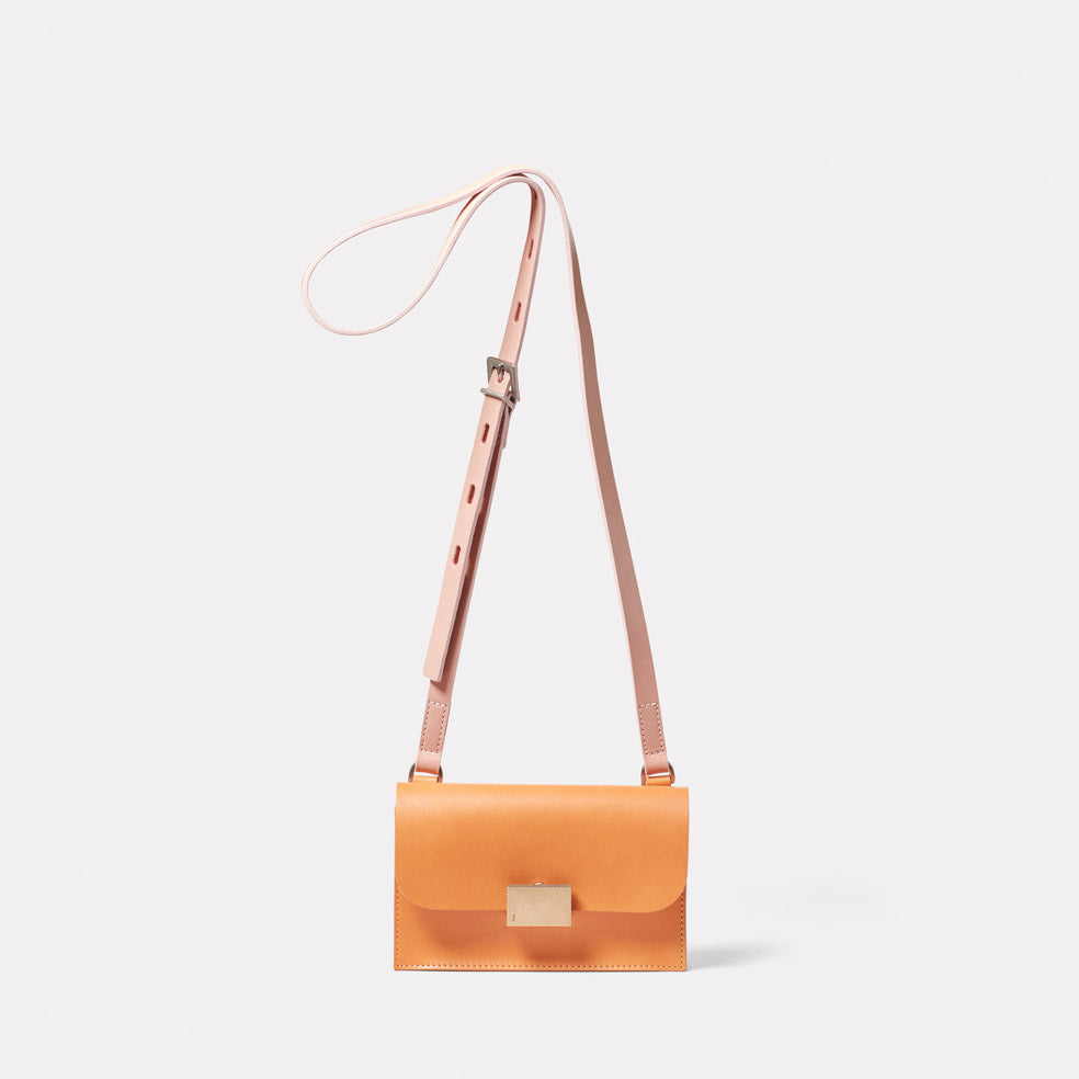 Mini Lock Boundary Leather Crossbody Lock Bag in Apricot