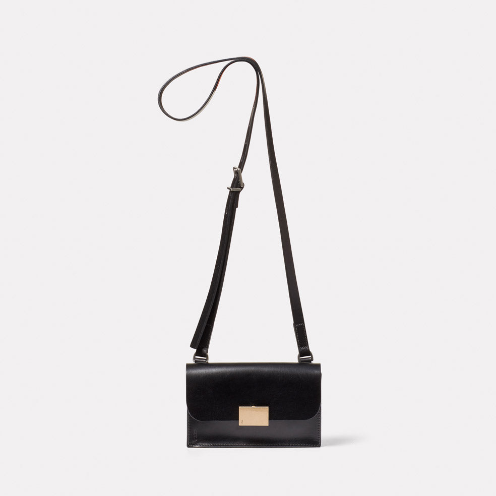 Mini Lock Boundary Leather Crossbody Lock Bag in Black