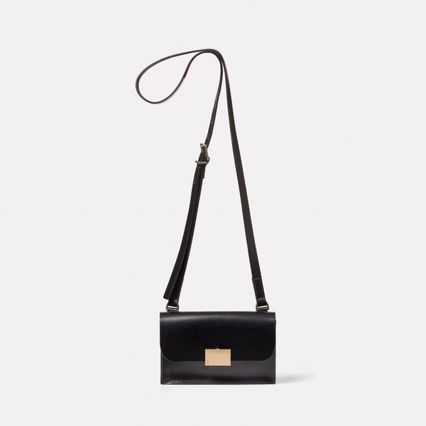Mini Lock Boundary Leather Crossbody Lock Bag in Black Front