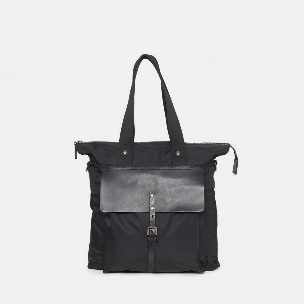 iAgo Luxe Nylon Tote In Black With Black Leather