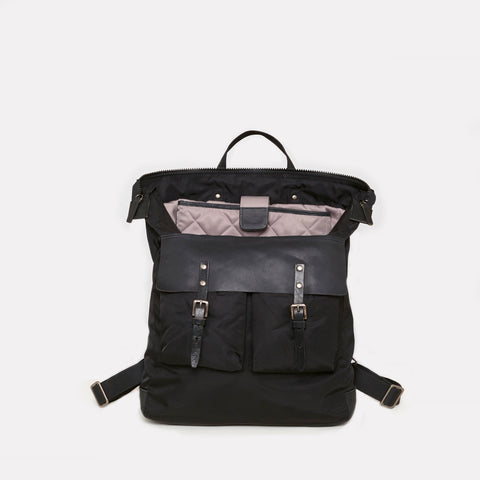 iGor Luxe Nylon Rucksack In Black With Black Leather