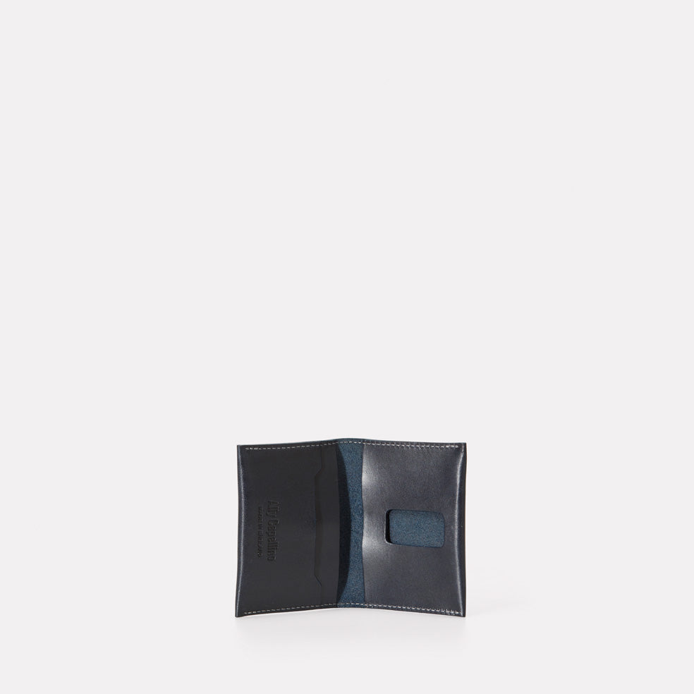 Fletcher Leather Card Holder in Navy