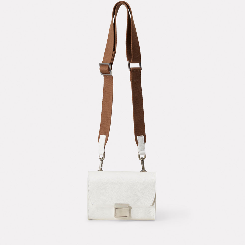 05d4f322ce SS18 Simone Mini Leather Crossbody Lock Bag in White- Ally Capellino