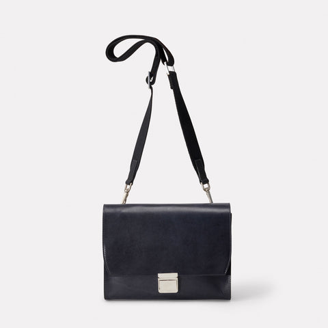 Hannah Leather Crossbody Lock Bag in Navy