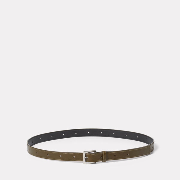 Arty Leather Belt in Olive