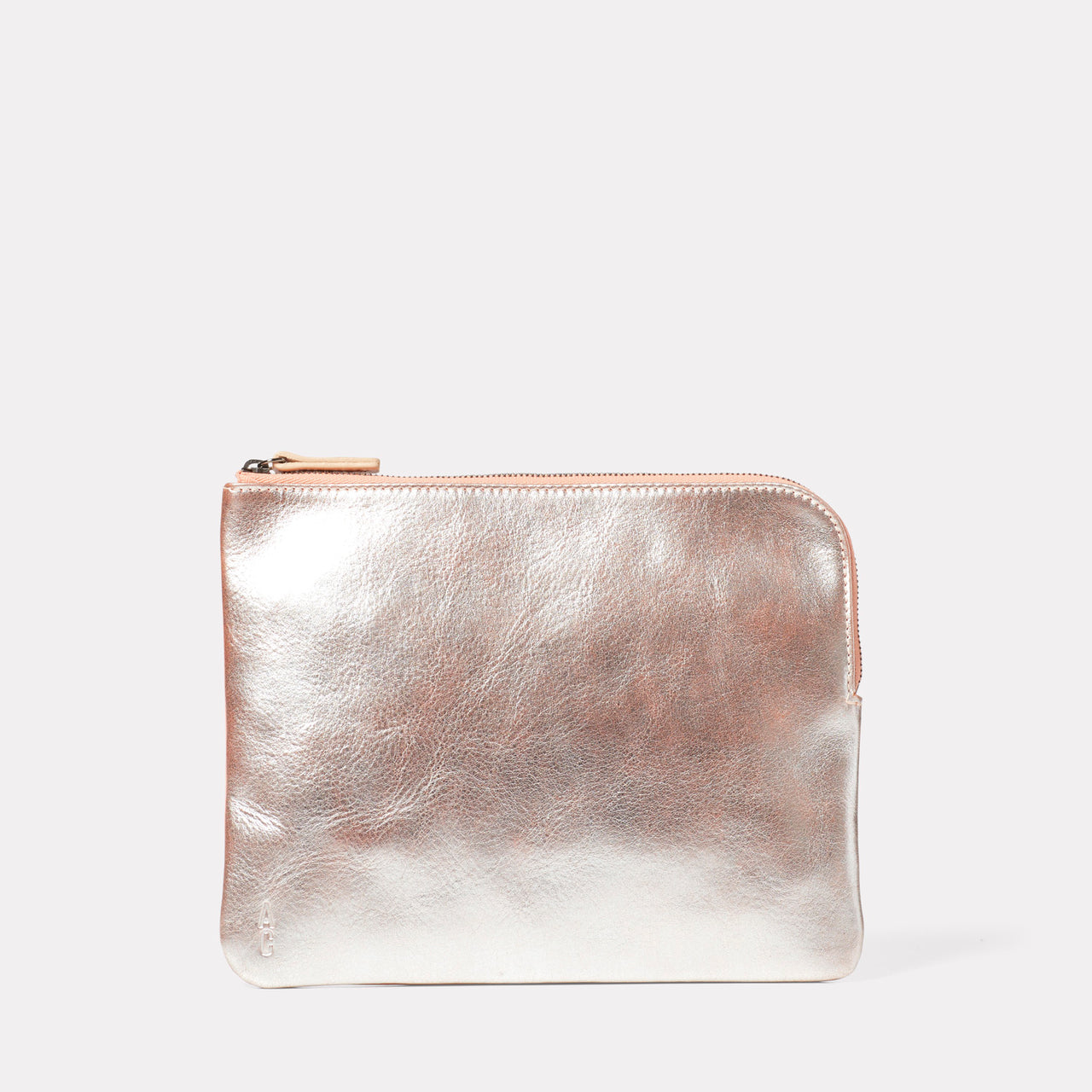 Big Jan Large Leather Purse in Peach Metallic