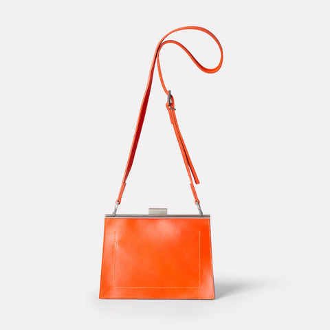 Womens, shoulder bag, SS19, veg tan leather, handbag, leather bags, womens leather bag, leather handbag, frame bag, crossbody bag, small bag, medium, flame, orange, red, red leather bag, orange leather bag,