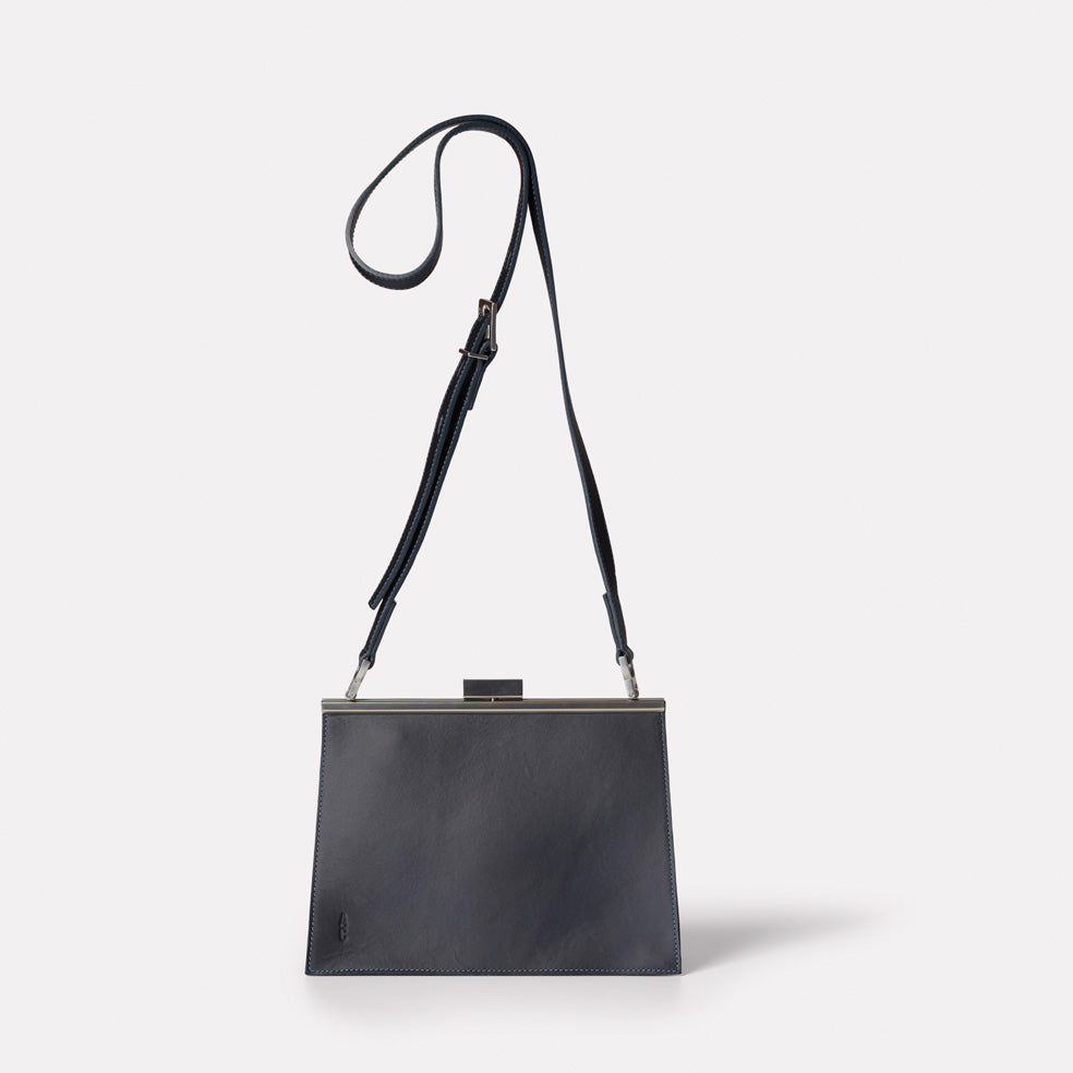 Branca Leather Crossbody Frame Bag In Navy