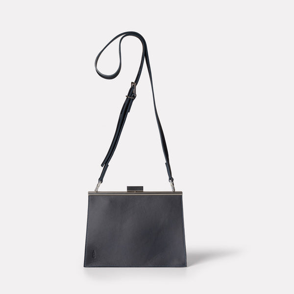 Womens, shoulder bag, SS19, veg tan leather, handbag, leather bags, womens leather bag, leather handbag, frame bag, crossbody bag, small bag, medium, navy, blue, dark blue, navy leather bag, blue leather bag, navy crossbody bag, shoulder bag,