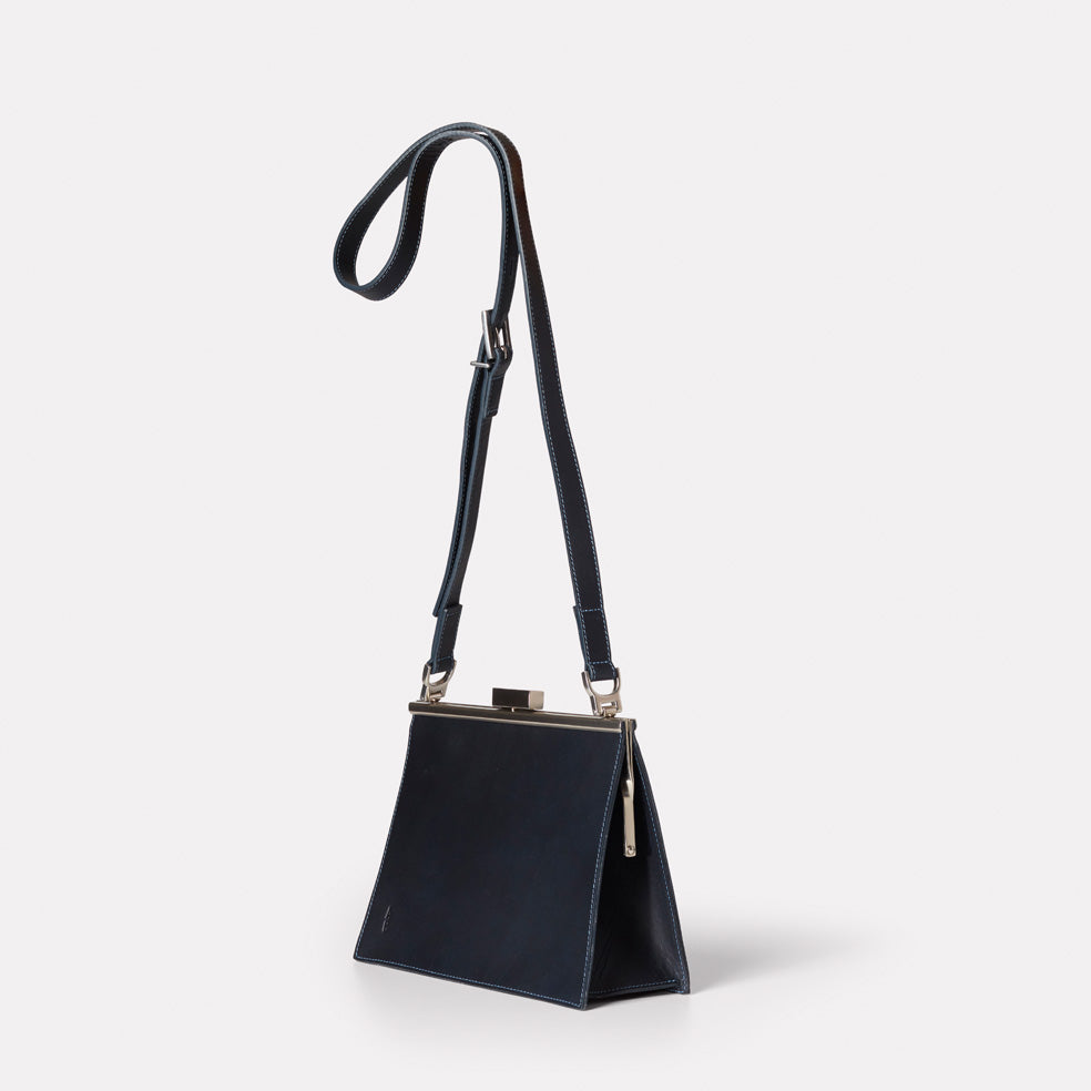 55a8c28314ce Branca Leather Crossbody Frame Bag In Navy – Ally Capellino