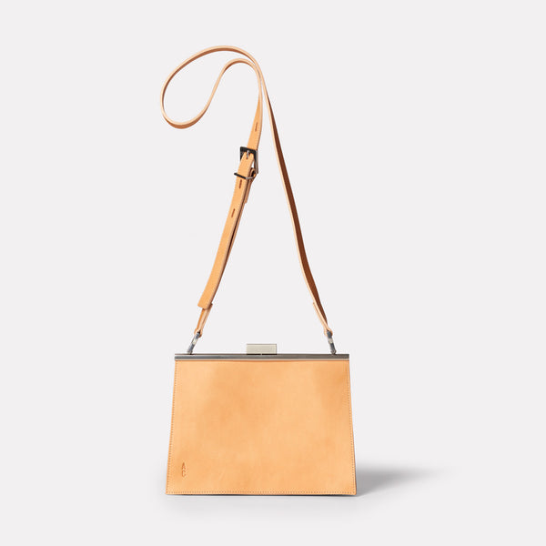 Womens, shoulder bag, SS19, veg tan leather, handbag, leather bags, womens leather bag, leather handbag, frame bag, crossbody bag, small bag, medium, brown, tan, brown leather bag, tan leather bag, tan crossbody bag, shoulder bag,