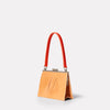 Womens, shoulder bag, SS19, veg tan leather, handbag, leather bags, womens leather bag, leather handbag, frame bag, small bag, medium, brown, tan, brown leather bag, tan leather bag, tan shoulder bag, shoulder bag, red, orange, flame,