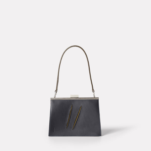 Womens, shoulder bag, SS19, veg tan leather, handbag, leather bags, womens leather bag, leather handbag, frame bag, small bag, medium, navy, blue, dark blue, navy leather bag, blue leather bag, navy shoulder bag, shoulder bag, olive, green, dark green,