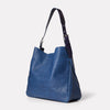 Cleve Large Calvert Leather Shoulder Bag in Navy