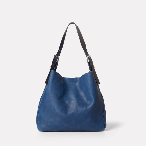 Womens, shoulder bag, SS19, veg tan leather, handbag, leather bags, womens leather bag, leather handbag, blue handbag, blue leather, navy, navy leather bag, womens blue leather bag, womens navy bag, cobalt blue