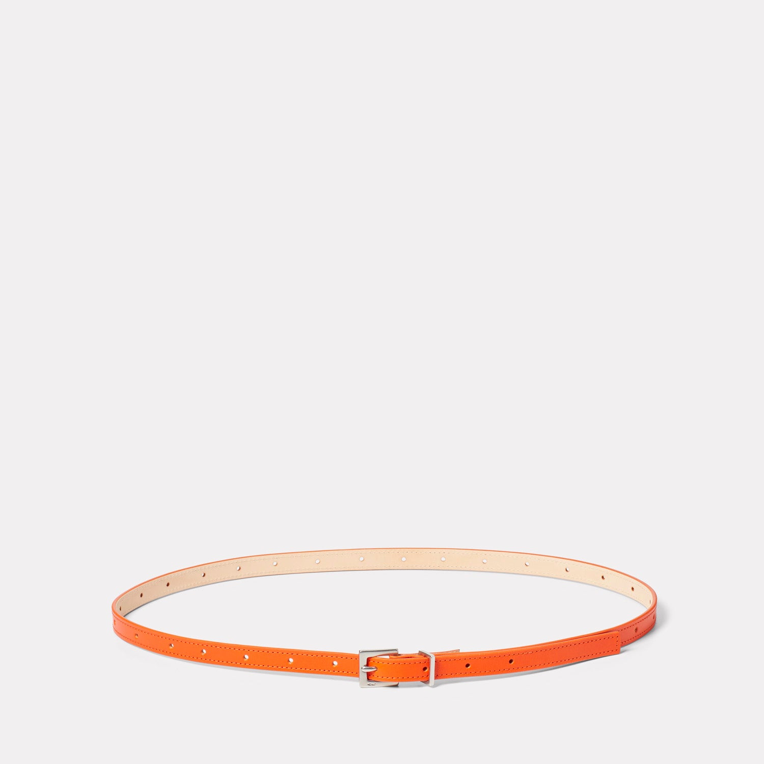 Etty Slim Leather Belt in Flame