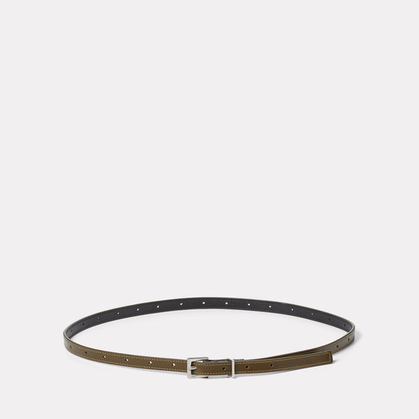 Etty Slim Leather Belt in Olive