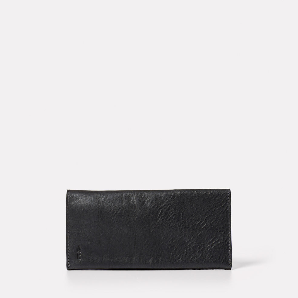 Evie Long Leather Purse in Black